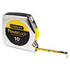 "<strong>Stanley Tools®</strong><br />Powerlock Tape Rule, 1/4"" x 10ft, Plastic Case, Chrome, 1/16"" Graduation"