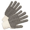 <strong>Anchor Brand®</strong><br />PVC-Dotted String Knit Gloves, Natural White/Black, Large, 12 Pairs