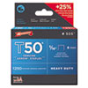 "T50 Heavy Duty Staples, 0.31"" Leg, 0.38"" Crown, Steel, 1,250/Pack"