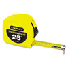 "Tape Rule, 1"" x 25ft, Steel Blade, Plastic Case, Yellow"