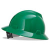 MSA V-Gard Full-Brim Hard Hats, Ratchet Suspension, Size 6 1/2 - 8, Green - 454-475370