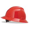MSA V-Gard Full-Brim Hard Hats, Ratchet Suspension, Size 6 1/2 - 8, Red - 454-475371