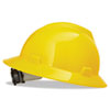 MSA V-Gard Full-Brim Hard Hats, Ratchet Suspension, Size 6 1/2 - 8, Yellow - 454-475366