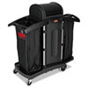 Rubbermaid® Commercial High-Security Housekeeping Cart, Two-Shelf, 22 x 51-3/4 x 53-1/2, Black/Silve RCP9T78