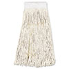 Boardwalk® Mop Head, Premium Saddleback Head, Cotton Fiber, 24oz, White, 12/Carton BWK324C