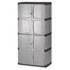 Double-Door Storage Cabinet - Base/Top, 36w x 18d x 72h, Gray/Black