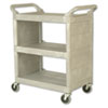 Utility Cart, 300-lb Cap, Three-Shelf, 32w x 18d x 37-1/2h, Platinum