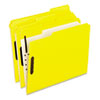 Colored Folders With Embossed Fasteners, 1/3 Cut, Letter, Yellow, 50/Box