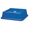 Rubbermaid® Commercial Untouchable Bottle & Can Recycling Top, Square, 20 1/8 x 20 1/8 x 6 1/4, Blue RCP2791BLU