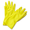 <strong>Boardwalk®</strong><br />Flock-Lined Latex Cleaning Gloves, X-Large, Yellow, 12 Pairs