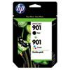 HP HP 901, (CN069FN) 2-pack Black/Tri-color Original Ink Cartridges HEWCN069FN