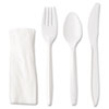 <strong>GEN</strong><br />Wrapped Cutlery Kit, Fork/Knife/Spoon/Napkin, Mediumweight, Polypropylene Plastic, White, 250/Carton
