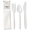 <strong>GEN</strong><br />Wrapped Cutlery Kit, Fork/Knife/Spoon/Napkin/Salt/Pepper, Polypropylene, White, 250/Carton
