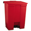 INDOOR UTILITY STEP-ON WASTE CONTAINER, RECTANGULAR, PLASTIC, 18 GAL, RED