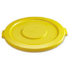 "<strong>Rubbermaid® Commercial</strong><br />Round Flat Top Lid, for 32 gal Round BRUTE Containers, 22.25"" diameter, Yellow"