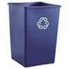 Rubbermaid® Commercial Recycling Container, Square, Plastic, 35gal, Blue RCP395873BLU
