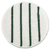 "Low Profile Scrub-Strip Carpet Bonnet, 21"" Diameter, White/Green"