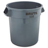 Rubbermaid® Commercial Round Brute Container, Plastic, 10 gal, Gray RCP2610GRA