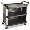 Rubbermaid® Commercial Xtra Utility Cart, 300-lb Cap, Three-Shelf, 20w x 40-5/8d x 37-4/5h, Black RCP4093BLA