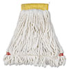 Web Foot Wet Mop Head, Shrinkless, Cotton/Synthetic, White, Small, 6/Carton