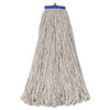 Mop Head, Economical Lie-Flat Head, Cotton Fiber, 32oz, White, 12/carton