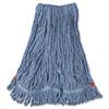 Web Foot Wet Mop Head, Shrinkless, Cotton/synthetic, Blue, Medium, 6/carton