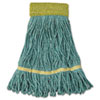 "Super Loop Wet Mop Head, Cotton/Synthetic Fiber, 5"" Headband, Small Size, Green, 12/Carton"