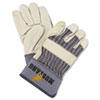 <strong>MCR&#8482; Safety</strong><br />Mustang Leather Palm Gloves, Blue/Cream, Large, 12 Pairs
