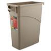 Rubbermaid® Commercial Slim Jim Waste Receptacle, Rectangular, Plastic, 15.875gal, Beige RCP3541BEI