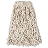 "Rubbermaid® Commercial Economy Cut-End Cotton Wet Mop Head, 20oz, 1"" Band, White, 12/Carton RCPV117"