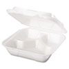 Snap It Foam Container, 3-Comp, 8 1/4 x 8 x 3, White, 100/Bag, 2 Bags/Carton