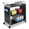 Safco® Scoot Three-Shelf Utility Cart, 31w x 18d x 38h, Black/Silver SAF5339BL