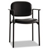 Basyx by HON VL616 Series Stacking Guest Chair with Arms, Black Leather BSXVL616SB11