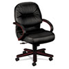 HON® 2190 Pillow-Soft Wood Series Mid-Back Chair, Mahogany/Black Leather HON2192NSR11