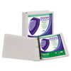 "Clean Touch Locking Round Ring View Binder, Antimicrobial, 1 1/2"" Cap, White"
