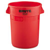 Rubbermaid® Commercial Round Brute Container, Plastic, 32 gal, Red RCP2632RED
