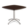 CaféWorks Table, 36w x 36d x 30h, Walnut/Silver
