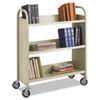 Steel Book Cart, Three-Shelf, 36w x 14.5d x 43.5h, Sand