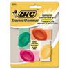 BIC® Eraser with Grip, Assorted Colors, 4/Pk BICERSGP41AST