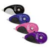 "Tombow® MONO Grip Top-Action Correction Tape, Black/Blue/Pink/Purple, 1/5"" x 394"", 4/Pk TOM68762"