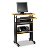 "Muv Stand-Up Adjustable-Height Desk, 29.5"" x 22"" x 35"" to 49"", Cherry/Black"