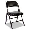 Steel Folding Chair with Two-Brace Support, Padded Back/Seat, Graphite, 4/Carton