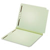 DUAL TAB PRESSBOARD FOLDER WITH TWO FASTENERS, STRAIGHT TAB, LETTER SIZE, LIGHT GREEN, 25/BOX