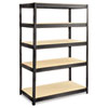 Boltless Steel/Particleboard Shelving, Five-Shelf, 48w x 24d x 72h, Black