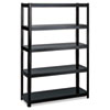 Boltless Steel Shelving, Five-Shelf, 48w x 24d x 72h, Black