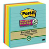 Post-it® Notes Super Sticky Recycled Notes in Bali Colors, Lined, 4 x 4, 90-Sheet, 6/Pack MMM6756SSNRP