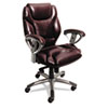 Mayline Ultimo 300 Series UL330M Mid Back Chair - Leather Burgundy Seat - Slate Frame - 5-star Base  MLNUL330MBUR
