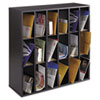 Safco® Wood Mail Sorter with Adjustable Dividers, Stackable, 18 Compartments, Black SAF7765BL