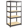 Boltless Steel/Particleboard Shelving, Five-Shelf, 36w x 24d x 72h, Black