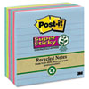 Post-it® Notes Super Sticky Recycled Notes in Bora Bora Colors, Lined, 4 x 4, 90-Sheet, 6/Pack MMM6756SST